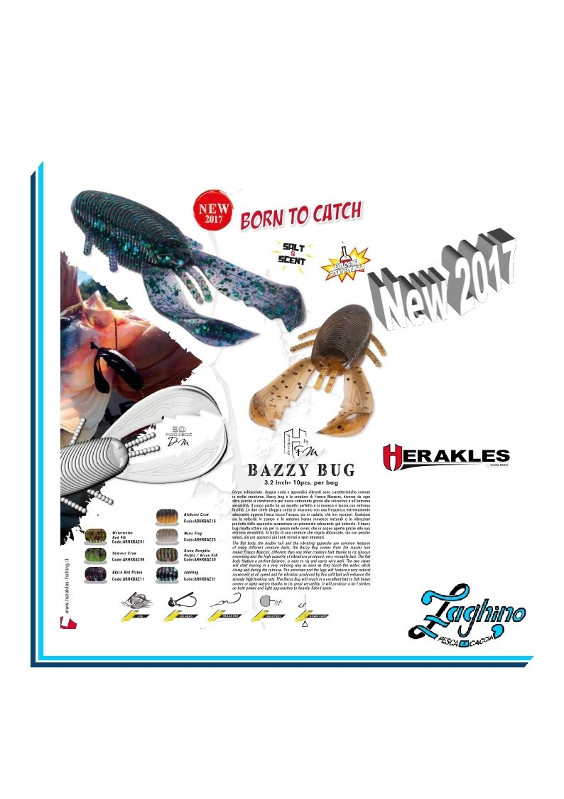 "HERAKLES BAZZY BUG 3.2"" Artificiali Spinning new 2017"