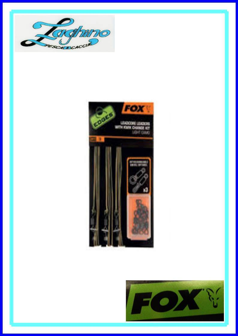 CAC578 Fox Edges Leadcore Leaders Inc Kwik Change Kit Dark Camo Filo piombato