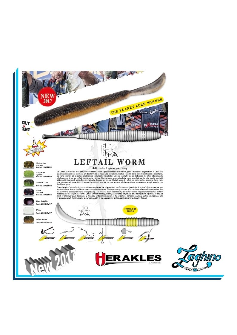 "HERAKLES LEFTAIL WORM 4.8"" Artificiali Spinning new 2017"