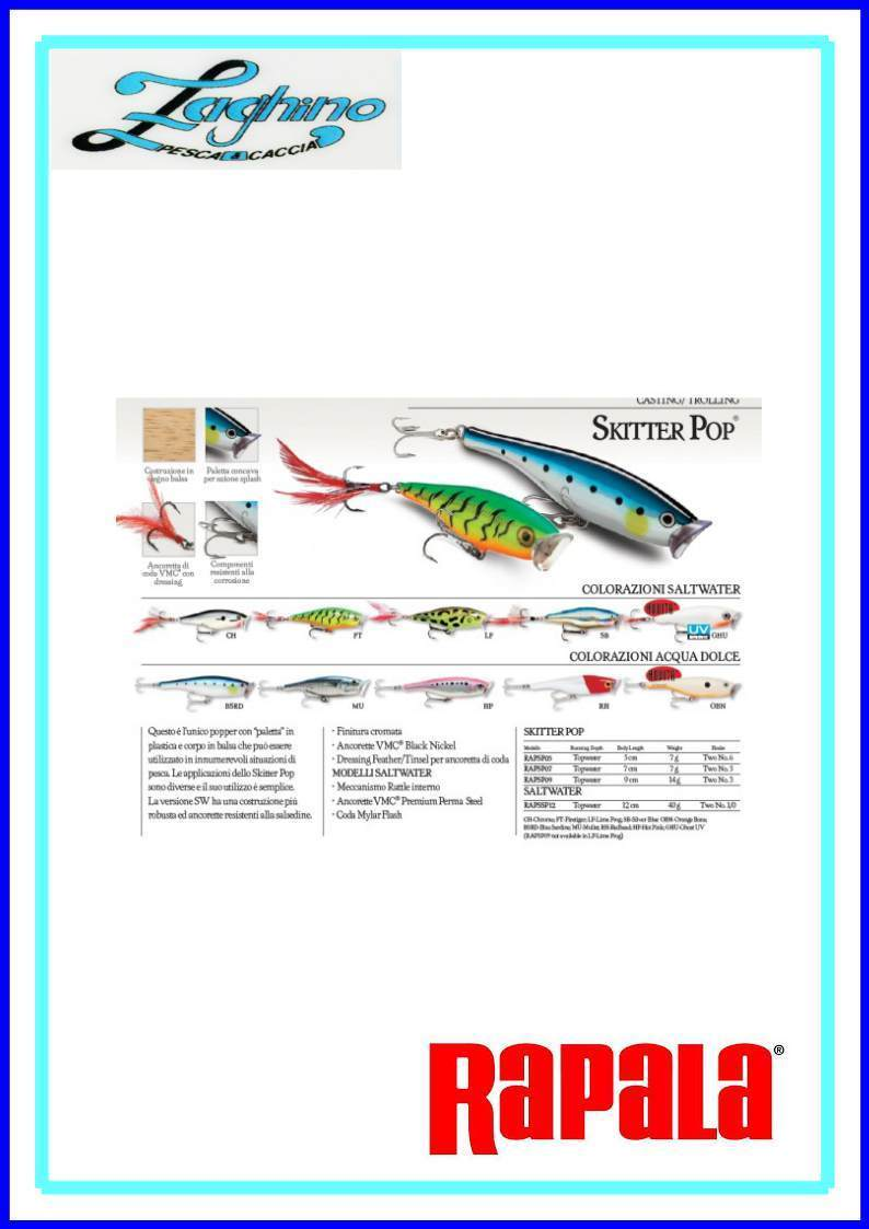 RAPALA RAPSSP12 SKITTER POP TOP WATER Mod. SALT WATER ARTIFICIALI SPINNING