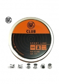RWS CLUB 4.5mm Testa Piatta Mantello Liscio IN CONF.500 PZ aria compressa